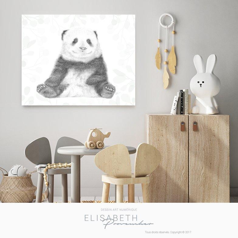 « BAO DI » petit panda - Affiche décorative
