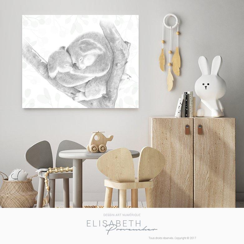 « KOALA MON AMOUR » – Affiche décorative