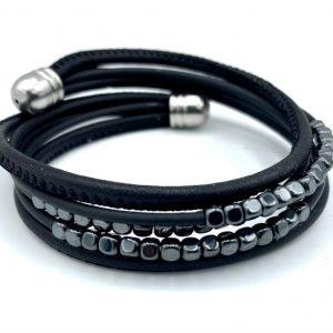 Bracelet caoutchouc, cuir et hématites grises foncées 1