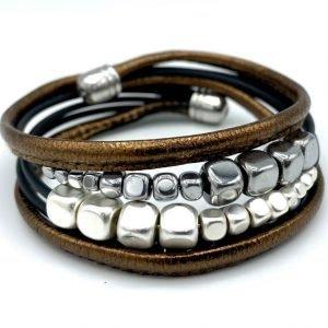 Bracelet en cuir brun et hématite 1